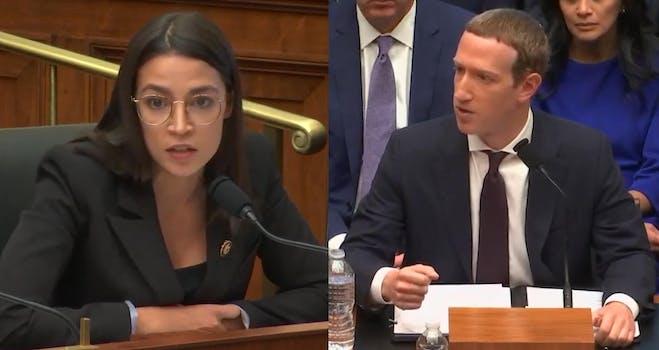 Alexandria Ocasio-Cortez Mark Zuckerberg Facebook Libra Hearing
