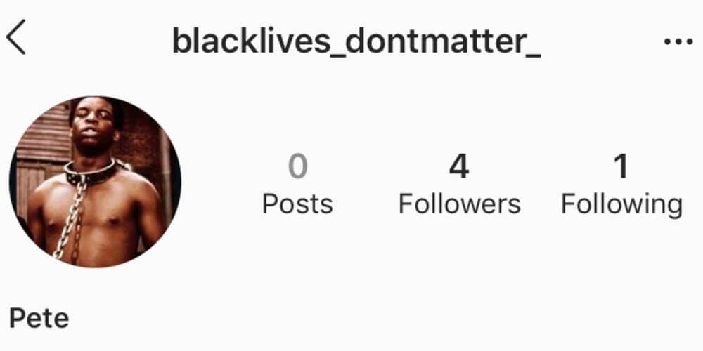Black Lives Don't Matter account with the photo of a Black man in a noose