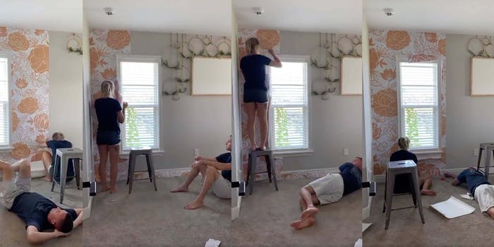 Screenshots show Emily's husband just lazing around while she puts up the wallpaper
