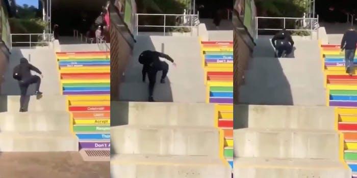 homophobe-rainbow-stairs-video