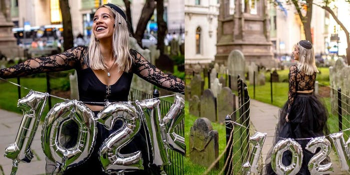 Mandy Velez seen posing with balloons at her student loan funeral