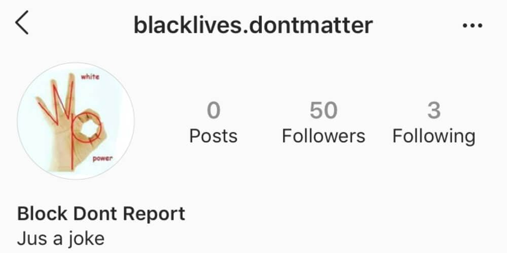 A Black Lives Dont Matter page on Instagram displays the photo of the handle signal known for white supremacy