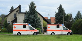 Ambulances in Wiedersdorf near Landsberg, Germany