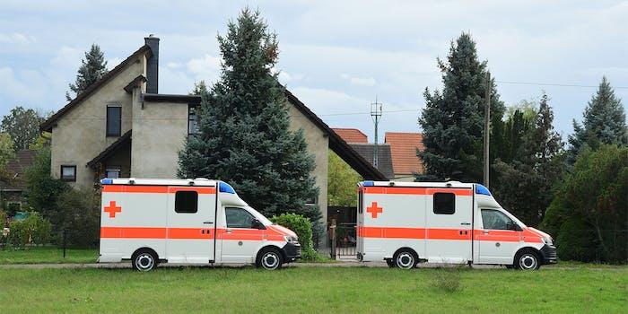 Ambulances in Wiedersdorf near Landsberg, Germany
