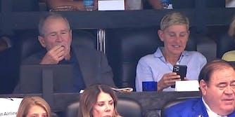 ellen george w bush watching cowboys game