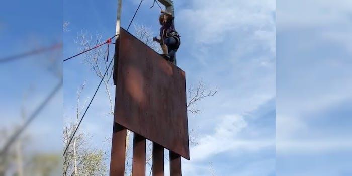 border wall rock climber