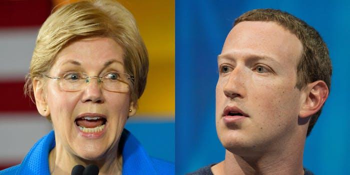 elizabeth warren mark zuckerberg existential threat
