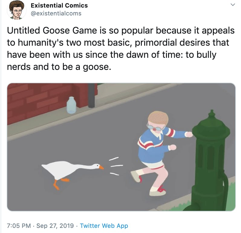 Tweet about Untitled Goose Game with a still of the game showing a boy running away from the goose.
