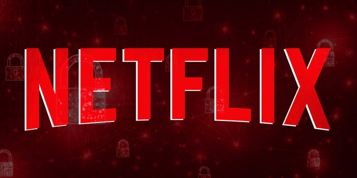 Netflix logo over digital lock background