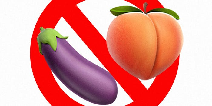 peach and eggplant emoji ban