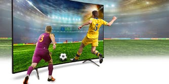 soccer players on 4k screen