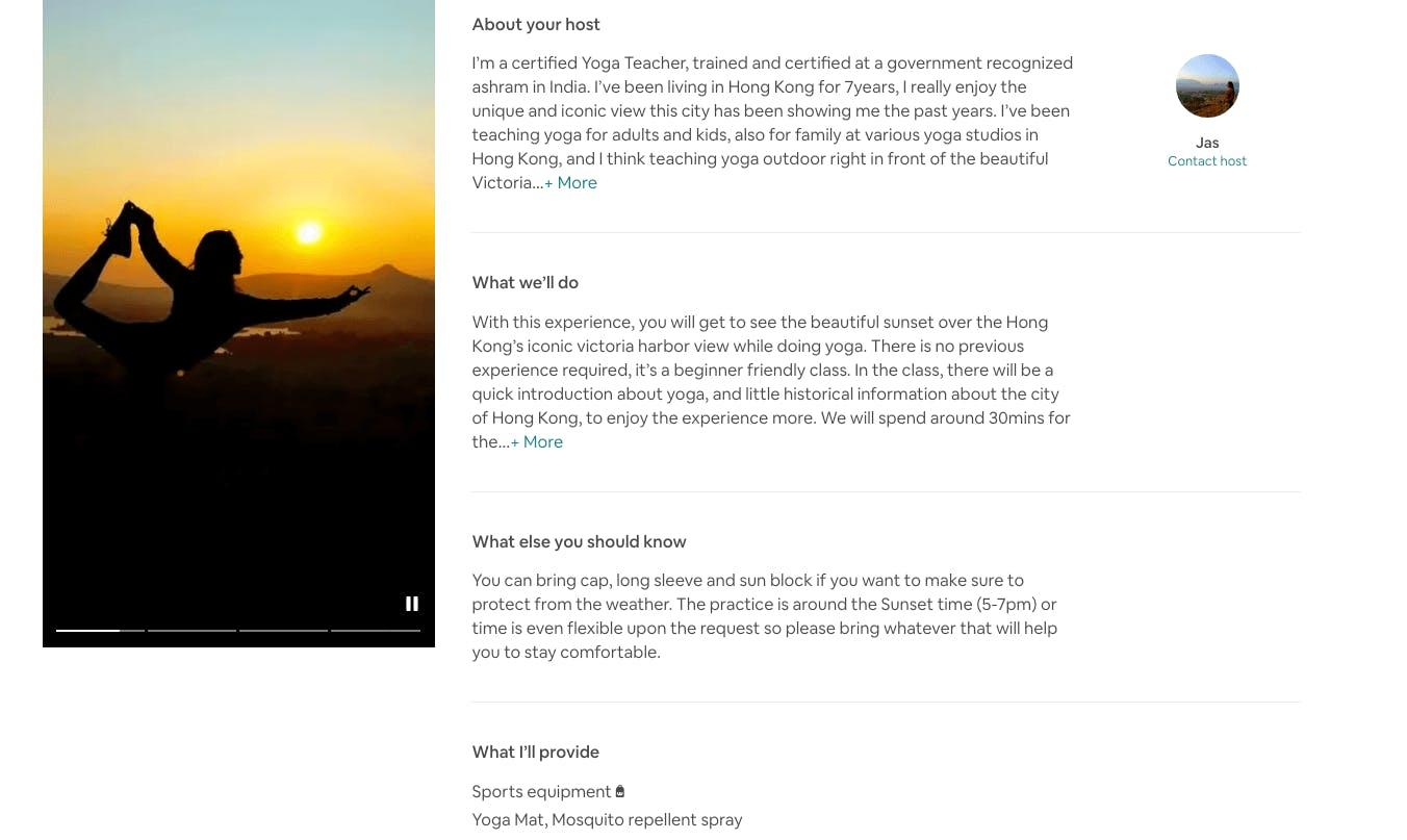 Airbnb Experiences yoga in Hong Kong