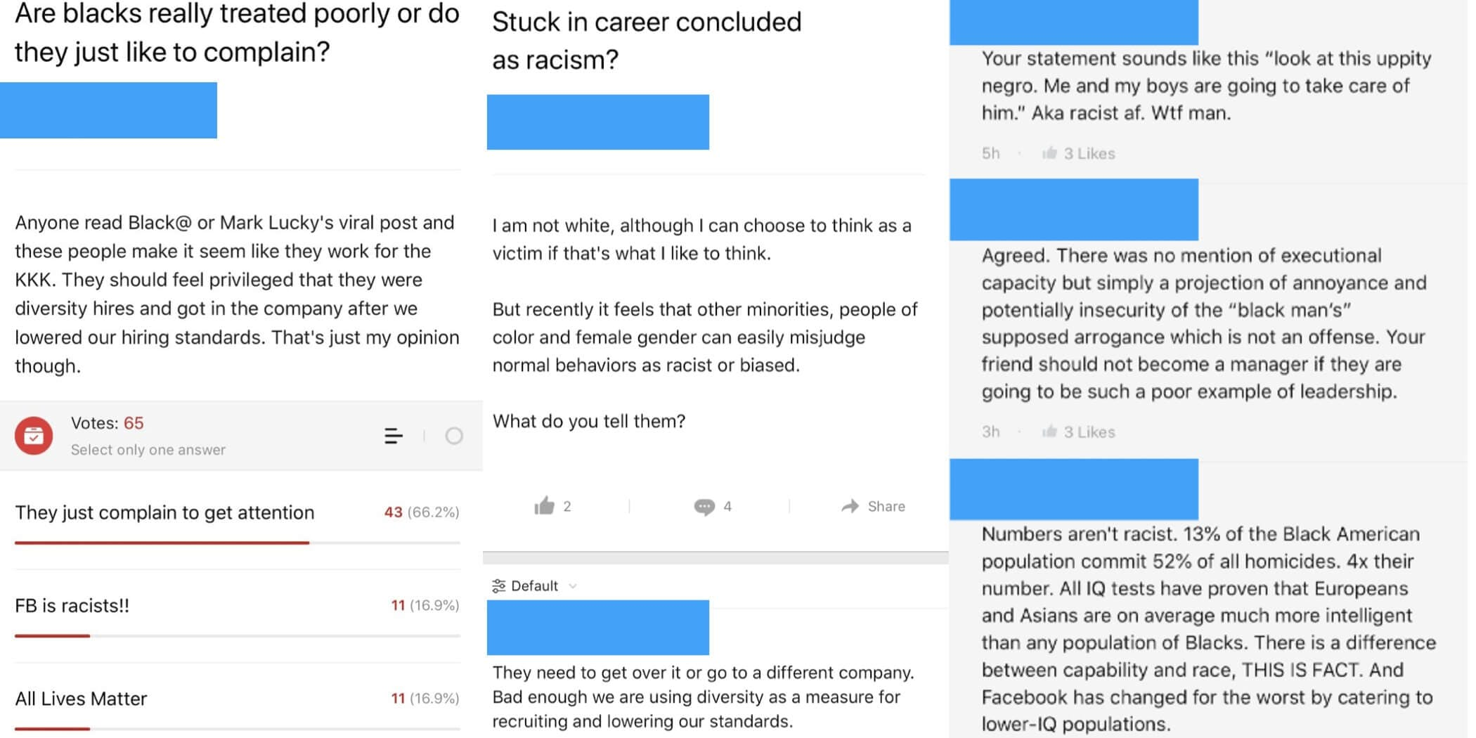 Screenshots show anonymous racist conversations