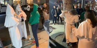 Screenshots show two women in KKK hoods and blood drop cross; one woman is seen taking off her hood in the second photo