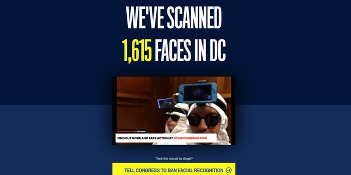 Facial Recognition Scan Congress Protest Washington DC Fight for the Future