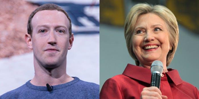 Hillary Clinton Mark Zuckerberg Facebook