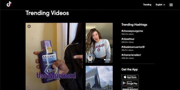 TikTok online - trending page