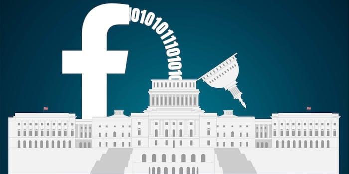 facebook logo spilling data into US capitol building