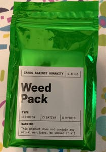 Image of the Cards Against Humanity weed pack packaging.