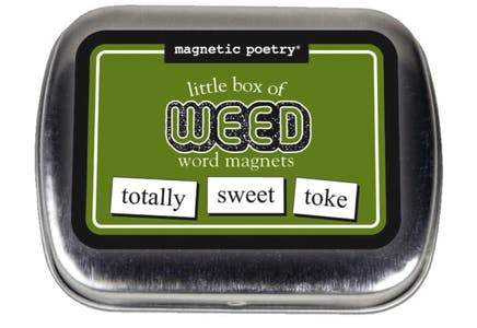 Photo of the Little Box of Weed Magnets in its aluminum packaging.