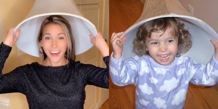 i'm baby meme, girl reenacting a childhood photo wearing a lampshade