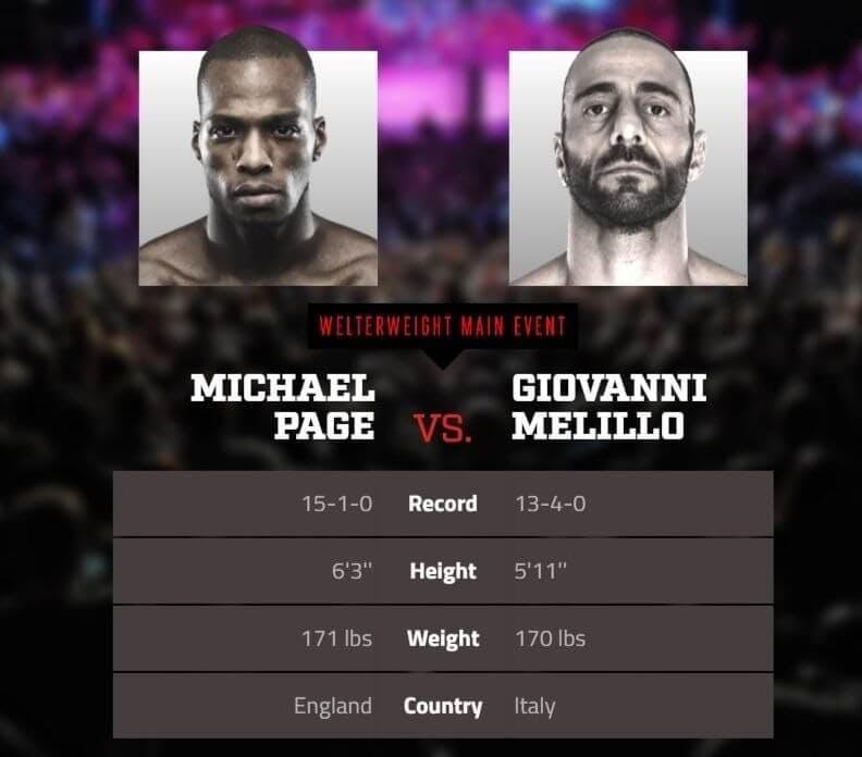 Michael Page vs Giovanni Melillo live stream Bellator app
