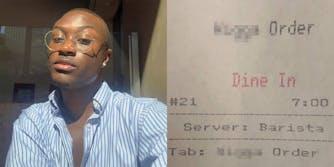 racist restaurant receipt