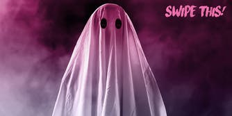 person in white sheet as ghost
