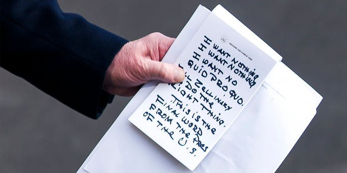 """Donald Trump handwritten """"I want nothing"""" note"""