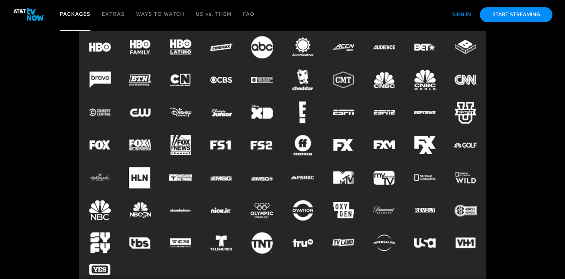 AT&T TV Now channels