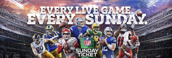 NFL Sunday Ticket promotional image showing football players from different teams. It says: Every live game. Every Sunday.