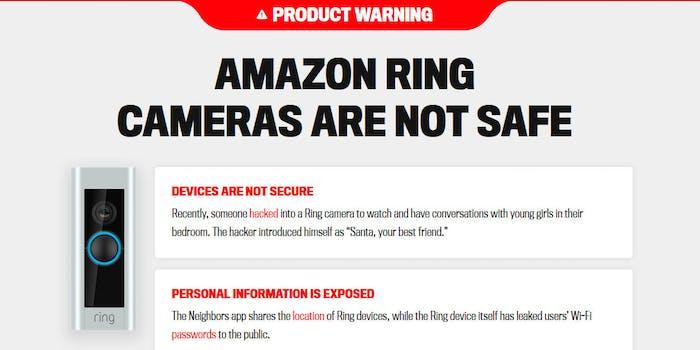 Amazon Ring Warning Website