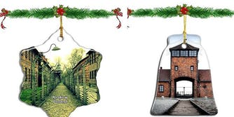 Tree decors showing Auschwitz concentration camp photos