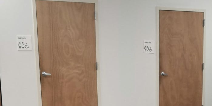 One bathroom sign shows 'Partner' and another shows 'Employee'