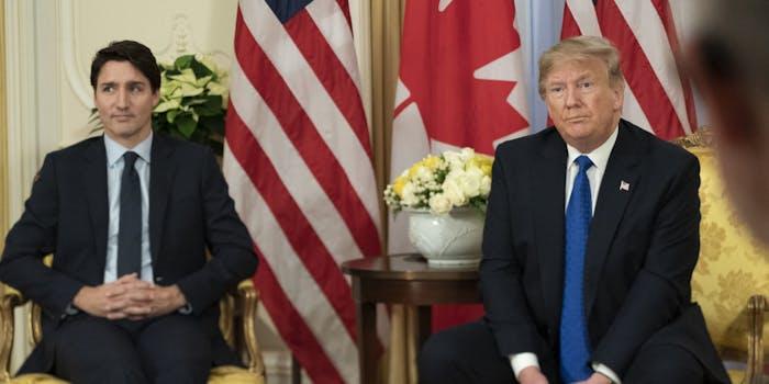 Donald Trump Trudeau Macron Johnson Video NATO