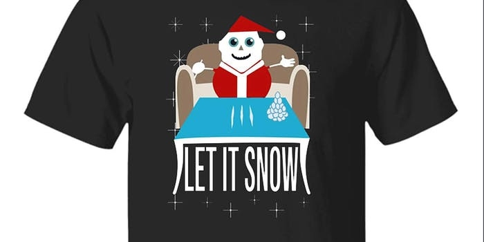 """Santa snowman doing lines of cocaine on a table with """"Let It Snow"""" underneath"""
