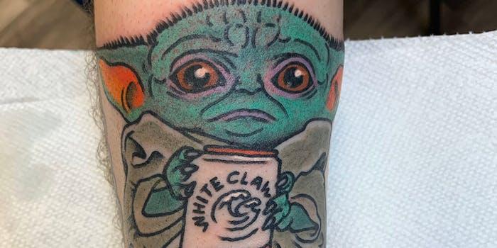 baby yoda white claw tattoo