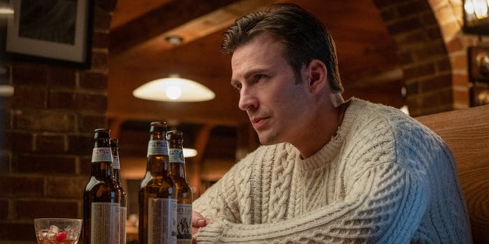 chris evans knives out cable-knit