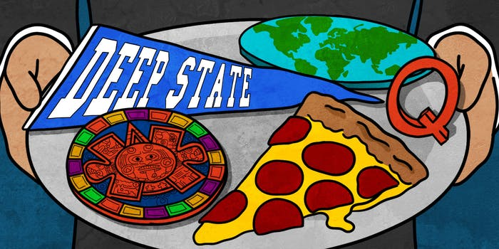 hands holding a tray serving a DEEP STATE collegiate banner, a flat earth, a piece of pizza, and a Mayan calendar