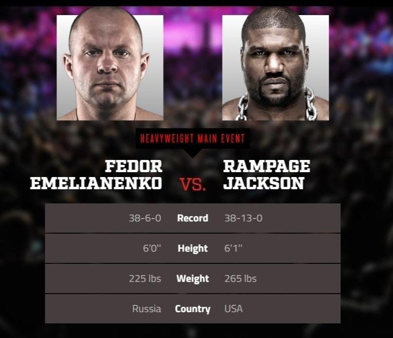 Fedor vs Rampage Jackson live stream DAZN