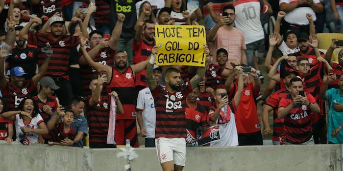 Gabigol celebrating goal