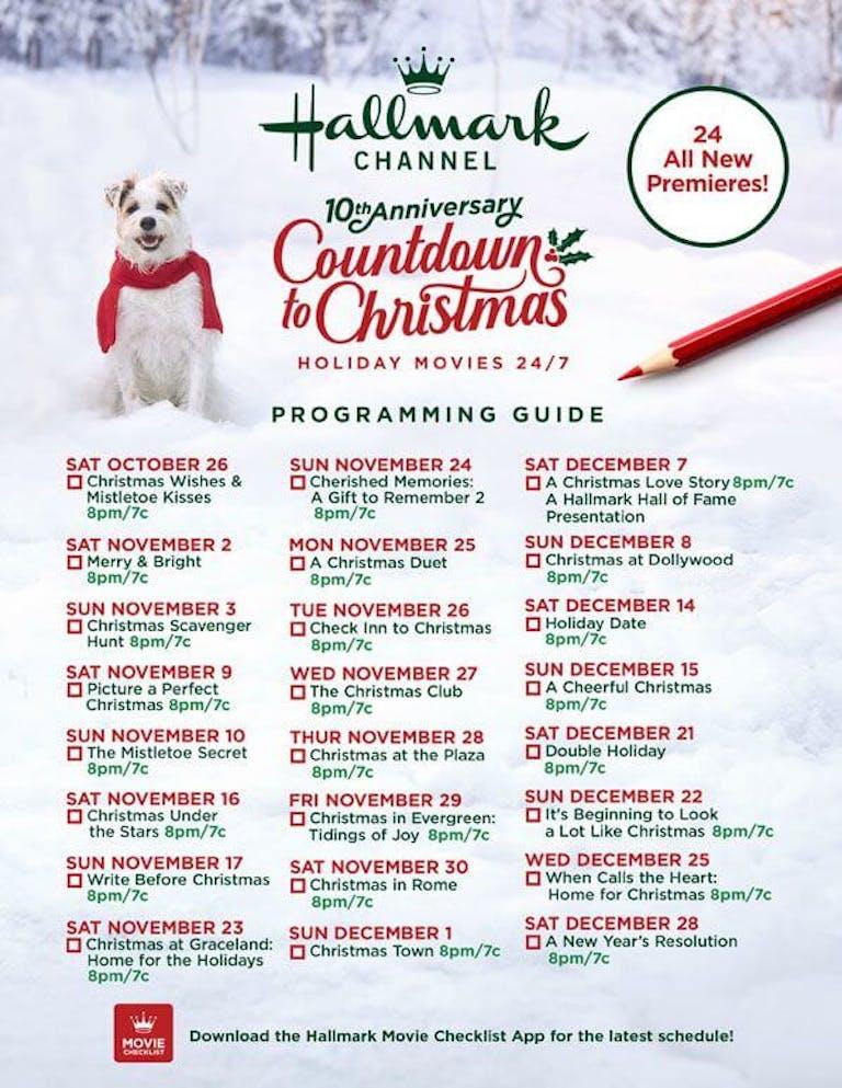 hallmark christmas movie list 2019
