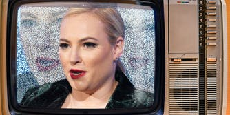 Meghan McCain on an old television set