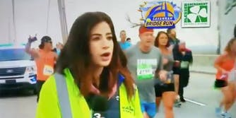 runner hits reporter's behind as he runs past during live tv broadcast