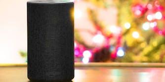 amazon echo speaker sitting in front of christmas tree lights
