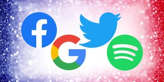 facebook, google, twitter and spotify logos over red, white, and blue background