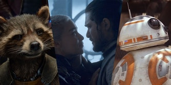 rocket raccoon, daenerys, jon snow, and bb8