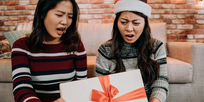 women bothered by gift