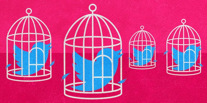 twitter birds locked in cages