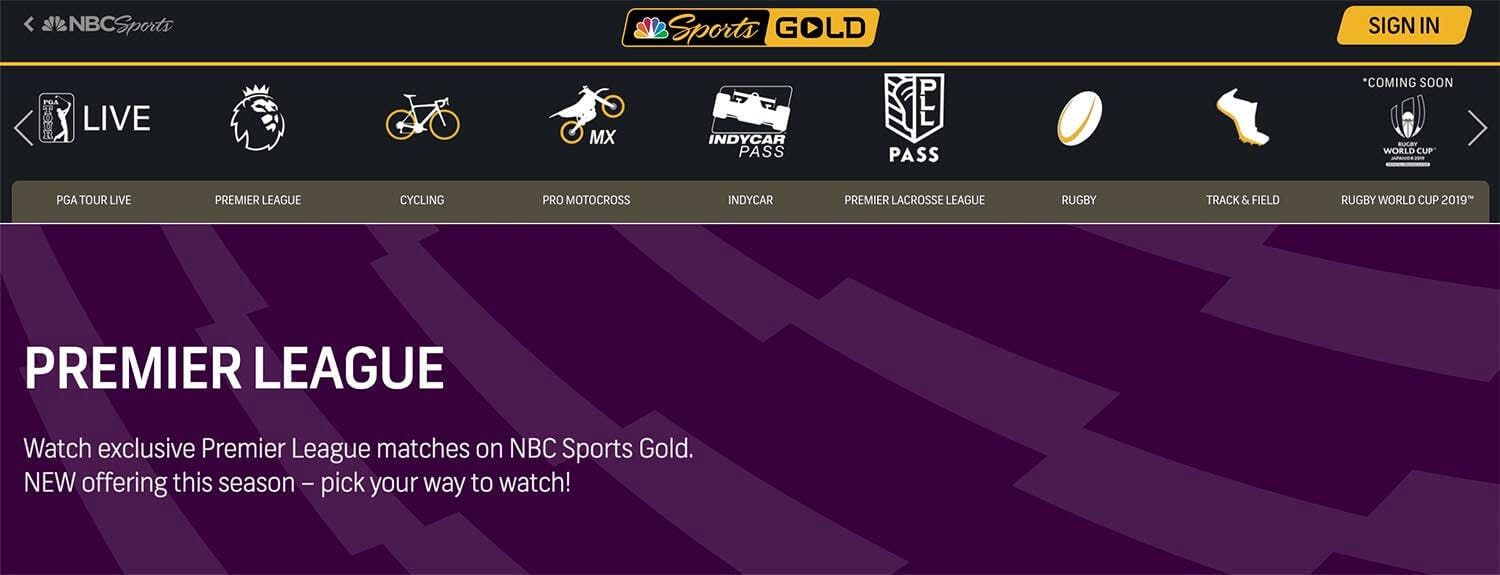 NBC Sports Gold streaming info